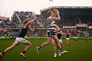 Jack Watts (footballer) - Watts (left) playing in defence on Geelong's Steve Johnson in round 19, 2011.
