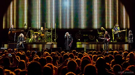 Nicks performing with her band at the Frank Erwin Center on her 24 Karat Gold Tour in March 2017 Stevie Nicks Austin 2017 (07).jpg