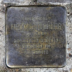 Photo of Hedwig Tuchler brass plaque