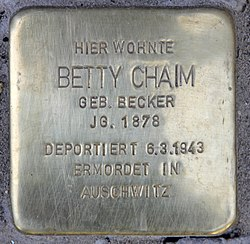 Photo of Betty Chaim brass plaque