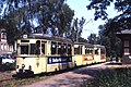 Strausberg Tram 3 car set led by Reko car 07, Linie 89, July 1992 (4075445391).jpg