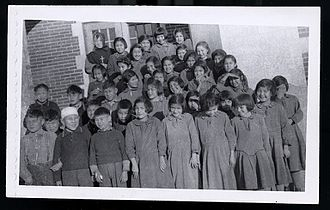 Canadian Indian residential school system - Students at the Blue Quills residential school in Alberta