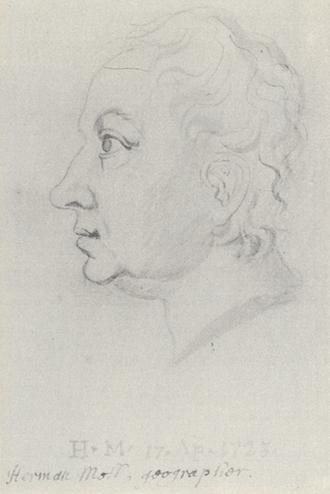 Herman Moll - A portrait of Hermann Moll by William Stukeley (1723).