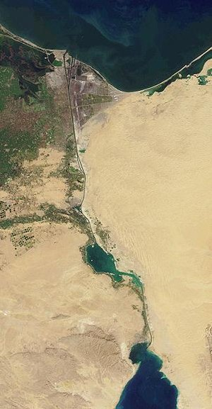 The Suez Canal crosses the Suez isthmus