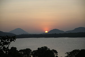 Sun setting over Kandalama Lake, Sri Lanka
