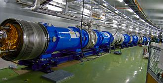 T2K experiment - Superconducting magnets under construction in 2008 to veer the proton beam to the direction of Kamioka