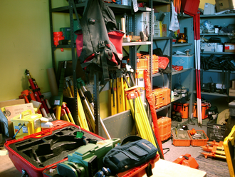 Geomatics - A surveyor's shed showing equipment used for geomatics