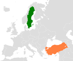 Map indicating locations of Sweden and Turkey