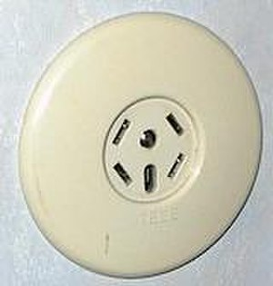 """Swedish telephone plugs & sockets - Swedish telephone socket of older design. The four angled slots are the connectors while the bigger slot in the lower middle is the presence slot. Above it is a screw. The embossed text underneath the circular indention reads """"TELE"""""""