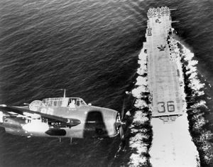 TBM-3E over USS Antietam (CV-36) 1945.jpg