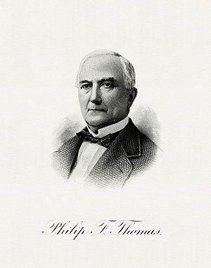 Philip Francis Thomas - Bureau of Engraving and Printing portrait of Thomas as Secretary of the Treasury.