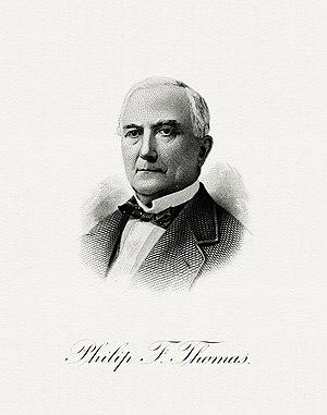 Philip Francis Thomas - Bureau of Engraving and Printing portrait of Thomas as Secretary of the Treasury.