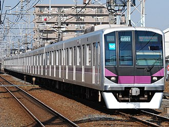 Tokyo Metro Hanzōmon Line - A Tokyo Metro 08 series EMU at Ichinowari Station on the Tobu Skytree Line