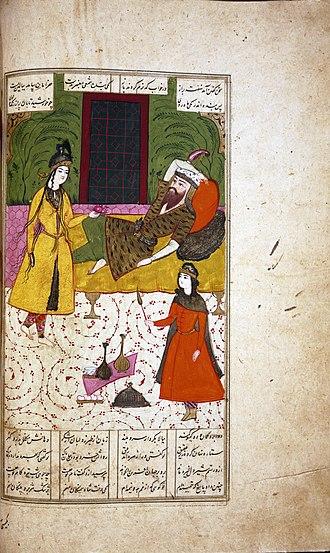 Tahmina - Persian manuscript painting: Tahmina visits Rostam.