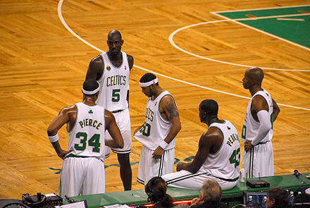 The Celtics during the 2008–09 season opener: (L-R) Paul Pierce, Kevin Garnett, Eddie House, Kendrick Perkins and Ray Allen Taking a Breather.jpg