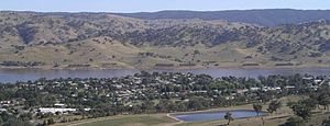Tallangatta - Tallangatta viewed from the town lookout in January 2004.  The Mitta arm of Lake Hume can be seen behind the town