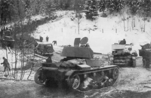 7th Army (Soviet Union) - T-26 light tanks of the 7th Army during advance into Finland, 2 December 1939.