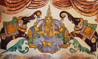 Lakshmi - A painting of Lakshmi on the inner walls of the Tanjore Big temple.