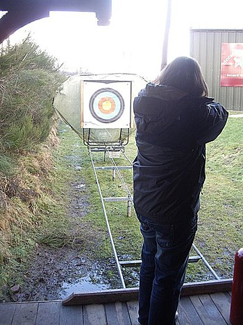 English: Target on rails The auto-archery rang...