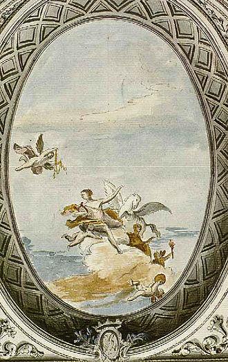 Teatro San Moisè - Watercolour depiction of a ceiling fresco in the Teatro San Moisè