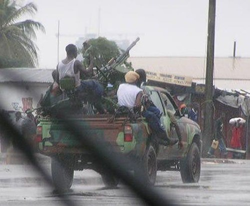 A technical in Monrovia during the Second Liberian Civil War. Technical Liberia.jpg