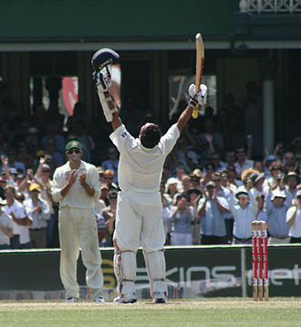 Century (cricket) - Tendulkar celebrates upon reaching his 38th Test century against Australia in the 2nd Test at the SCG in 2008, where he finished not out on 154