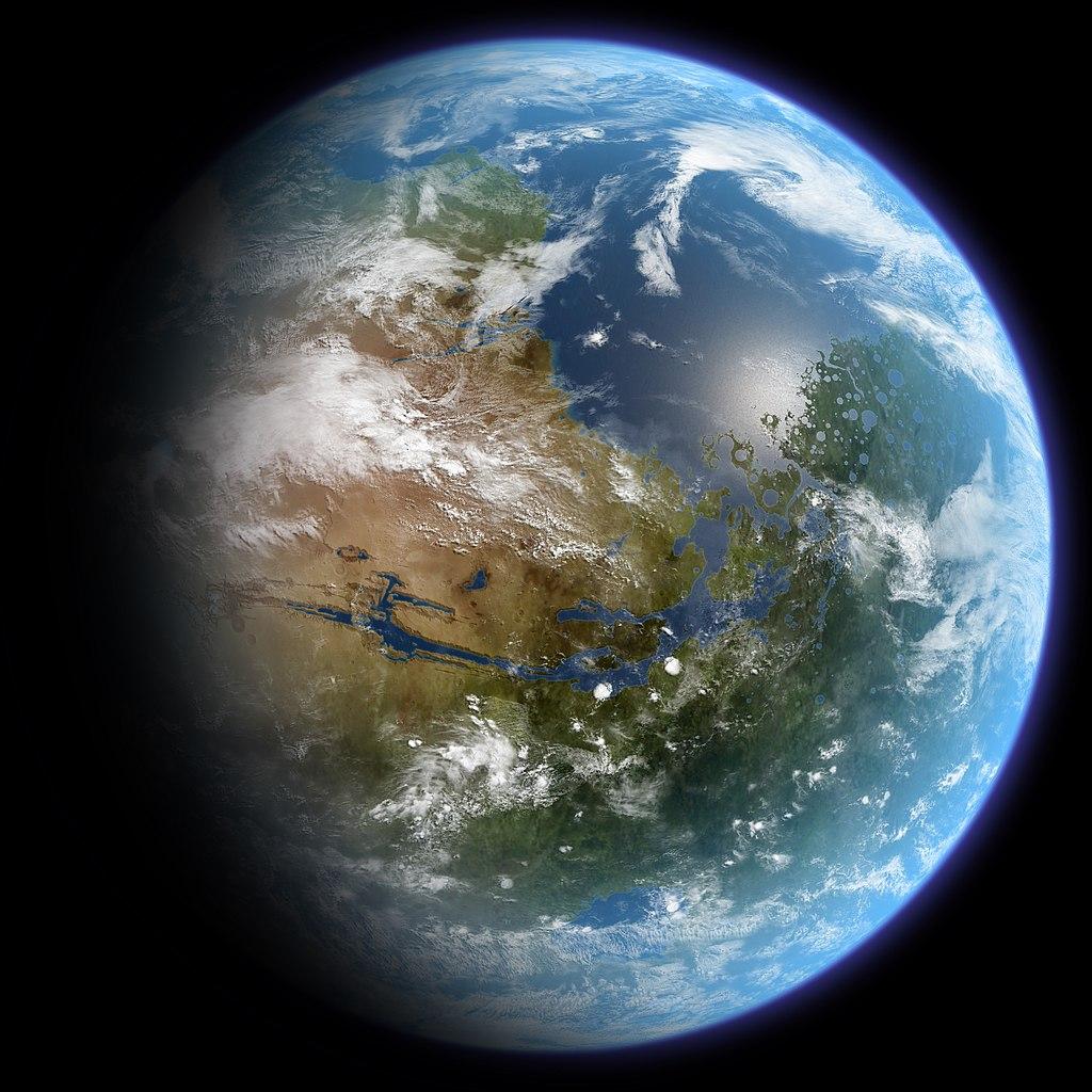 Künstlerische Darstellung eines terrageformten Mars. (c) Daein Ballard