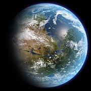Umělecká představa jak by mohl vypadat teraformovaný Mars