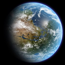 Artist's conception of a terraformed Mars. This realistic portrayal is approximately centered on the prime meridian, 30 degrees north latitude. The hypothesized oceans are depicted with sea level at approximately two kilometers below average surface elevation. The ocean submerges what are now Vastitas Borealis, Acidalia Planitia, Chryse Planitia, and Xanthe Terra; the visible landmasses are Tempe Terra at left, Aonia Terra at bottom, Terra Meridiani at lower right, and Arabia Terra at upper right. Rivers that feed the ocean at lower right occupy what are now Valles Marineris and Ares Vallis, while the large lake at lower right occupies what is now Aram Chaos.