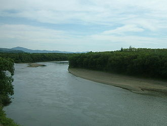 Teshio River - View from a train crossing a bridge on the Sōya Main Line (September 2008)