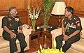 The COAS, Royal Bhutan Army, Maj. Gen. Batoo Tshering meeting the Chief of Army Staff, General V.K. Singh, in New Delhi on March 14, 2012.jpg