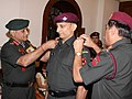 The Chief of Army Staff, Gen. V.K. Singh pipping in the Rank of Hon. Major to Dr. Deepak Rao, in New Delhi on November 01, 2011.jpg