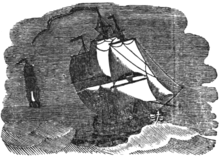 Engraving of two ships under sail at sea