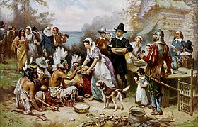 Le Premier Thanksgiving dans le Massachusetts en 1621, par Jean Leon Gerome Ferris, v. 1912.