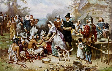 The First Thanksgiving 1621, oil on canvas by Jean Leon Gerome Ferris (1899). The painting shows common misconceptions about the event which persist to modern times: Pilgrims did not wear such outfits, nor did they eat at a dinner table, and the Wampanoag are dressed in the style of Native Americans from the Great Plains. The First Thanksgiving cph.3g04961.jpg