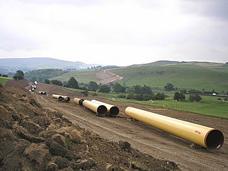 Easington Gas Terminal - Gas pipeline being built in North Yorkshire in June 2006, for connection to Easington