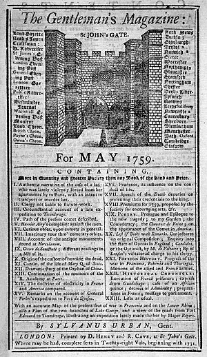 History of journalism in the United Kingdom - Front page of The Gentleman's Magazine, May 1759