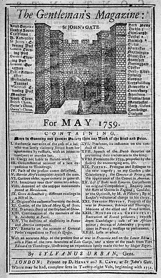 "Edward Cave - The Gentleman's Magazine, May 1759, ""By SYLVANUS URBAN, Gent."""