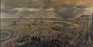 Barnett Freedman - The Landing in Normandy; Arromanches, D-day plus 20, 26th June 1944 (Art.IWM ART LD5816)