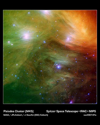Electra (star) - The Pleiades Cluster in infrared with Electra at the very top of the frame
