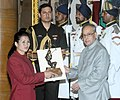 The President, Shri Pranab Mukherjee presenting the Arjuna Award for the year-2015 to Ms. Y. Sanathoi Devi for Wushu, in a glittering ceremony, at Rashtrapati Bhavan, in New Delhi on August 29, 2015.jpg