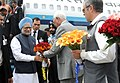 The Prime Minister, Dr. Manmohan Singh being received by the Governor of Jammu & Kashmir, Shri N.N. Vohra, on his arrival at Srinagar Airport, in Jammu & Kashmir on June 07, 2010.jpg