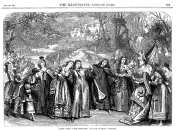 Scene from Gilbert's 1870 play, The Princess: Hilarion and his companions, disguised as women (but played by women impersonating men) meet Princess Ida and her students.