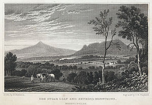 Ysgyryd Fawr - Engraving c 1830 of The Sugar Loaf and Skyrrid mountains