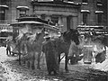 The Terminal (1892), a realistic winter picture of a horse drawn tram terminal, in New York.jpg