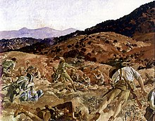 A reproduction image of a painting in which a battle scene is depicted. The terrain is rocky and undulating and men in shorts and shirts carrying rifles are falling to the ground as they are shot down from defenders standing in another trench.