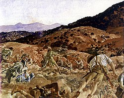 A reproduction image of a painting in which a battle scene is depicted. The terrain is rocky and undulating and men in shorts and shirts carrying rifles are falling to the ground as they are shot down from defenders standing in another trench