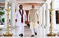 The former President of Sri Lanka, Mr. Mahinda Rajapaksa meeting the Prime Minister, Shri Narendra Modi, in New Delhi on September 12, 2018.JPG