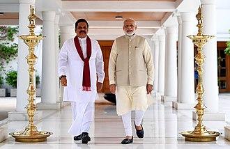 Mahinda Rajapaksa - Former President Rajapaksa meeting Indian Prime Minister Narendra Modi in New Delhi in September 2018