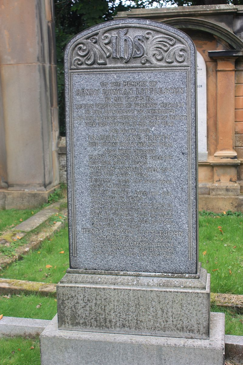 The grave of Henry Duncan Littlejohn, Dean Cemetery.JPG